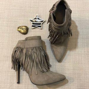 WILD DIVA Fringe High Heel Boots Booties